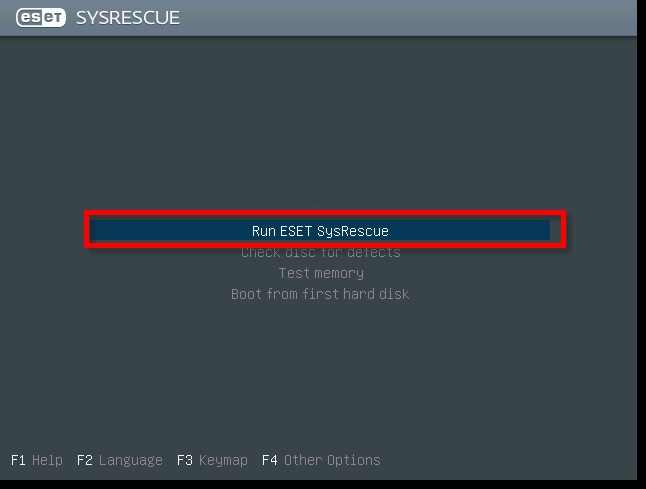 run eset sys rescue disk